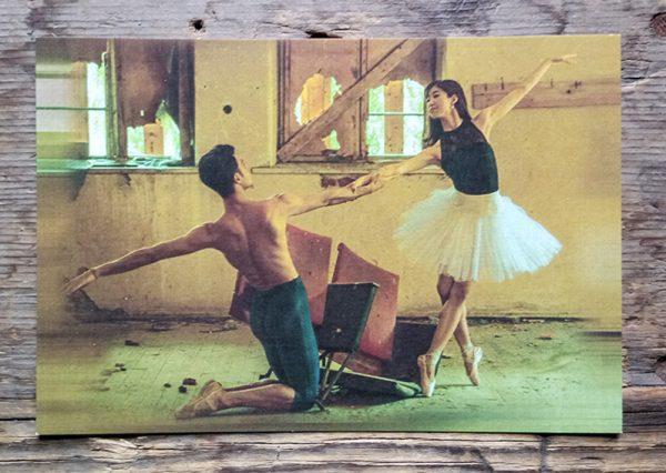 картичка Читалище Светлина, Балетисти в библиотеката
